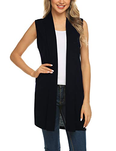 Beyove Women's Solid Sleeveless Solid Color Drape Open Cardigan Vest Navy Blue XXL