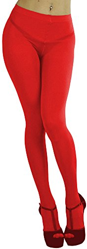 ToBeInStyle Women's Opaque Full Footed Panty Hose Leggings Tights Hosiery - Red - One Size: Regular (Green And Red Tights)