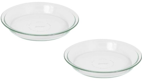 Pyrex 6001003 Glass Bakeware Pie Plate 9 inch x 1.2 inch Pack of 2, 5.2, Clear
