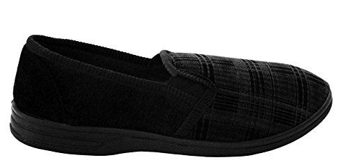 A&H Footwear ,  Herren Flache Hausschuhe Black/Check