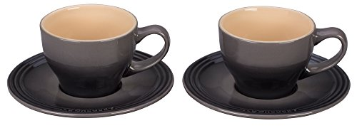 Le Creuset of America PG8000-057F Le Creuset Stoneware Set of 2 Cappuccino Cups and Saucers - Oyster, 7 oz,