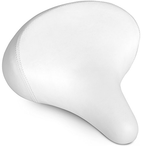 Bikeroo Comfortable Cruiser Bike Seat - Extra Wide Bicycle Saddle with Suspension - Great Replacement Soft Bike Saddle for Women and Men - Stylish Beach Cruiser Bicycle Seat (White Bike Seat)