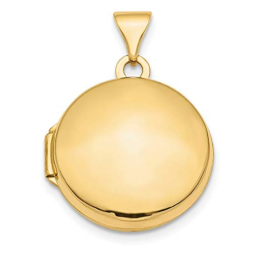 (14K Yellow Gold Polished Domed 16mm Round Locket from Roy Rose Jewelry)