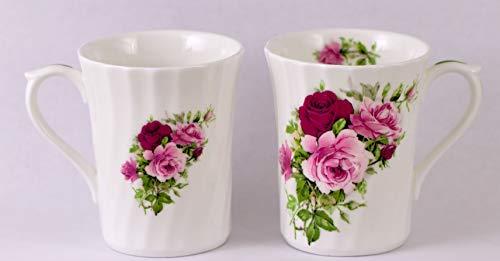 SUMMERTIME ROSE 8oz Mug - SET OF 2 - Fine English Bone China