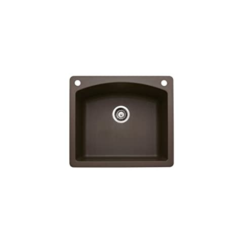 Blanco 440208-2 Diamond 2-Hole Single-Basin Drop-In or Undermount Granite Kitchen Sink, Cafe brown (Brown Granite Kitchen Sinks)