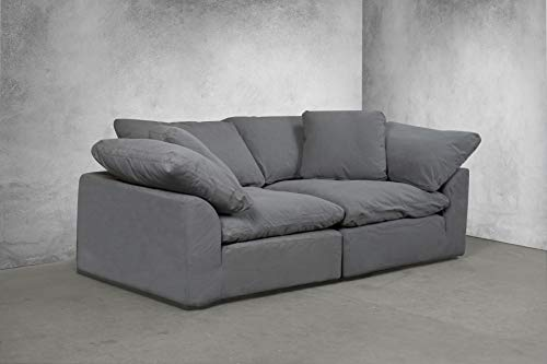 Fabric Slipcovered Loveseat - Sunset Trading SU-1458-94-2C Cloud Puff 2 Piece Modular Performance Gray Sectional Slipcovered Sofa, Grey