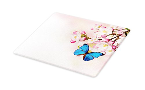Lunarable Butterfly Cutting Board, Blue Butterfly on Spring Cherry Japanese Flowers White Orchard Nature Theme, Decorative Tempered Glass Cutting and Serving Board, Small Size, Blue Pastel Pink - Orchard Glass Cutting Board
