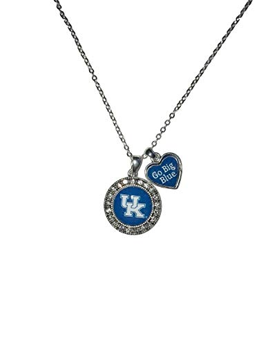 Kentucky Wildcats Logo and a Heart Shaped Charm Necklace Featuring Team Slogan