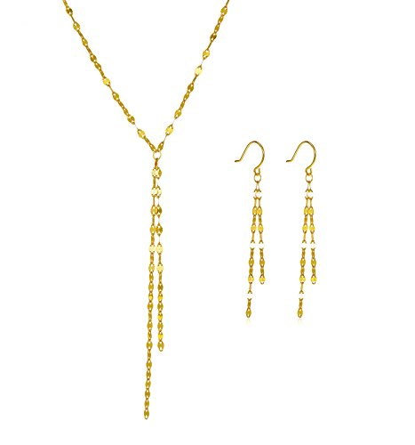Gold over Sterling Silver Tassel Y Necklace and Matching Dangle Earrings (Lariat Set Earrings)