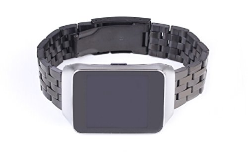 GOOQ New Solid Stainless Steel Watchband Wristband for Samsung Galaxy Gear 2 R380 Neo R381 Live R382 Smart Watch Strap Compatible with LG G Watch W100W110 Smart Watch (Matte Black)