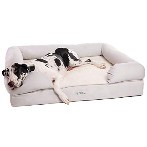PetFusion Ultimate Dog Bed, Orthopedic Memory Foam. (XXL Sandstone, Medium Firmness, Waterproof Liner, YKK Zippers, More Breathable 35% Cotton Cover, Cert. Skin Contact Safe). 2Yr Warranty