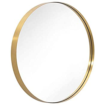 Image of ANDY STAR Round Mirror for Bathroom, Gold Circle Mirror for Wall Mounted, 30'' Modern Brushed Brass Metal Frame Round Mirror For Wall Decor, Vanity, Living Room, Bedroom