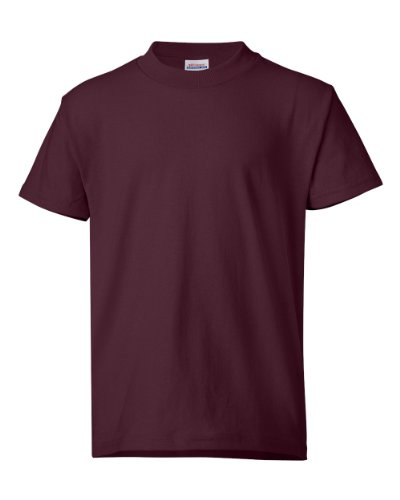 (Hanes Heavyweight 50/50 - 50/50 Cotton/Poly T-Shirt, Youth XS (2-4), Maroon)