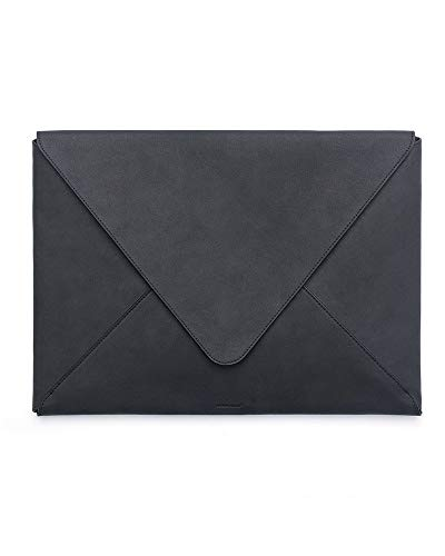 (RUSSELL+HAZEL Leather Envelope Laptop Bag- Black)