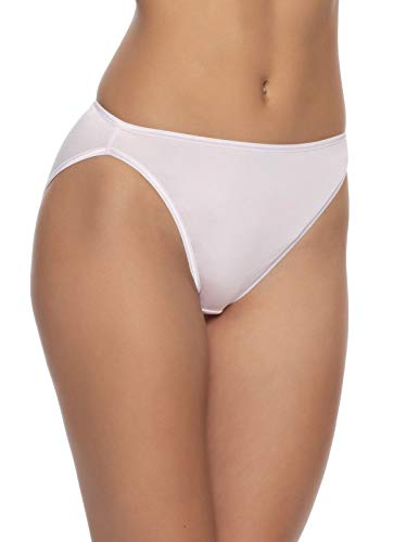 Felina | So Smooth Modal Hi Cut Panty | Hi Leg Opening | Full Coverage (Barely Pink, X-Large)