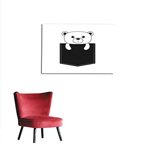 homehot Photographic Wallpaper Bear in The Pocket Cute Cartoon Contour Character Dash line Forest Animal Collection White and Black Color T-Shirt Design Baby Background Isolated Flat Mural 48