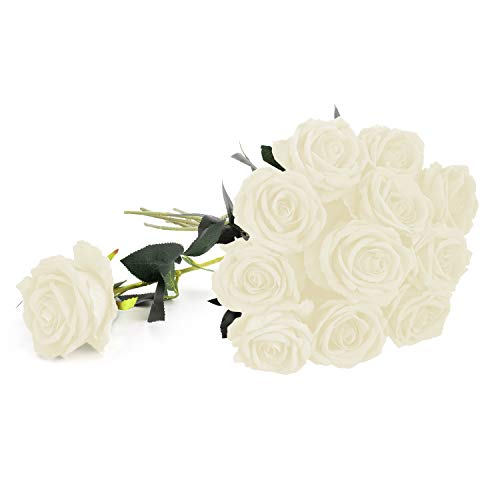 (Royal Imports White Velvet Artificial Faux Fake Silk Rose Flower for Bouquets, Weddings, Valentines, Wreaths, Crafts, Single Stem (1 Dozen) 30