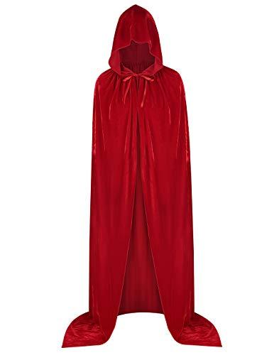 HDE Halloween Cape Hooded Unisex Floor Length Velvet Cloak Adult Gothic Halloween Costume Accessory Blood Red