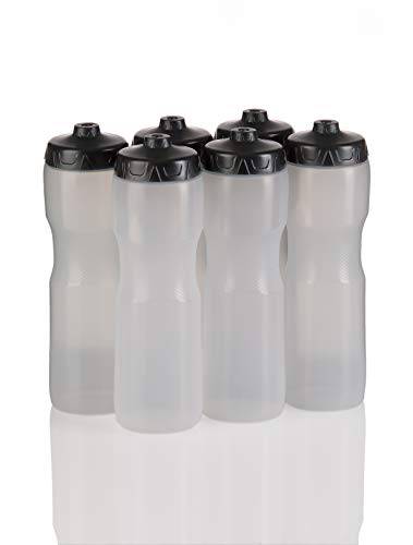 50 Strong Jet Stream Sports Squeeze Water Bottle with One-Way Valve - Team Pack – Set of 6 Bottles - 28 oz. - Made in USA (Clear)