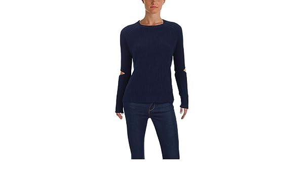 230ebdfeffd352 Zoe Jordan Womens Cut-Out Sleeves Ribbed Crewneck Sweater Navy XS at Amazon  Women s Clothing store