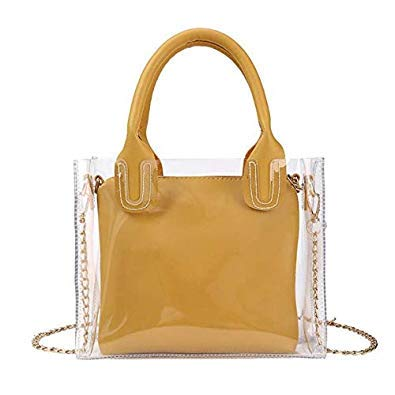 Bloomerang Women PVC Shoulder Handbags Chain Clear Jelly Casual Beach Messenger Bags color Yellow