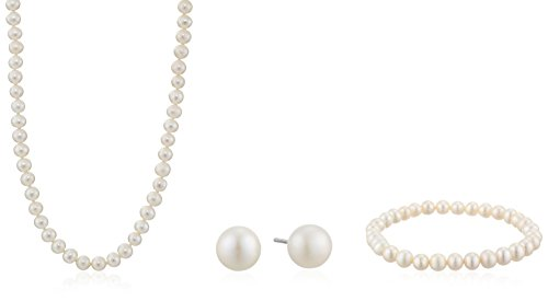 Sterling Silver 5.5-6mm Genuine Freshwater Cultured White Pearl Necklace Bracelet Stud Earrings Set