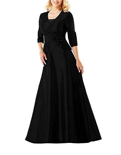 Taft HWAN Lange Mutter Braut Eine Schwarz Kleid Linie der formale wwqEr