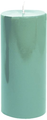 Entertaining with Caspari 6-Inch Round Pillar Dripless, Smokeless, Unscented Candle, Turquoise