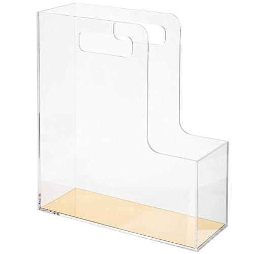 File Sorter Clear Acrylic Metallic Gold Desktop Organizer Document Holder With Handles Catalog Folders Stationary Rack Table Acrylicmagazine Bookshelf Plexiglassboxes Literature Handle Mirror Bins ()