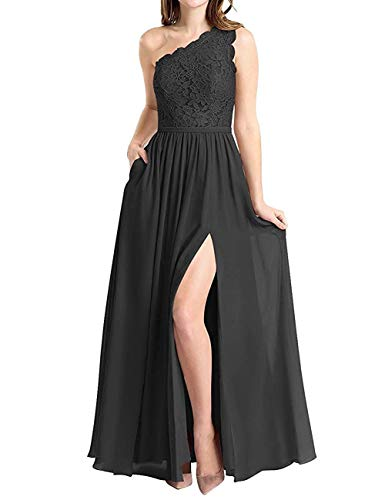 Molisa Women's One Shoulder Long Evening Dress Lace Chiffon Bridesmaid Dress Side Split Prom Gowns Black Size 4 (Black Lace Chiffon Dress)