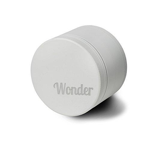 Wonder Herb Grinder Matte Engraved Aluminum 2.5 Inch 4-Piece with Pollen Catcher Scraper Cleaning Brush Pouch and Airtight Wonder Jar (Matte White)