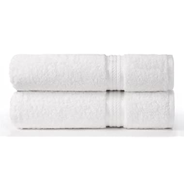 Cotton Craft Ultra Soft 2 Pack Oversized Extra Large Bath Sheet 35x70 White weighs 33 Ounces - 100% Pure Ringspun Cotton - Luxurious Rayon trim - Ideal for everyday use - Easy care machine wash