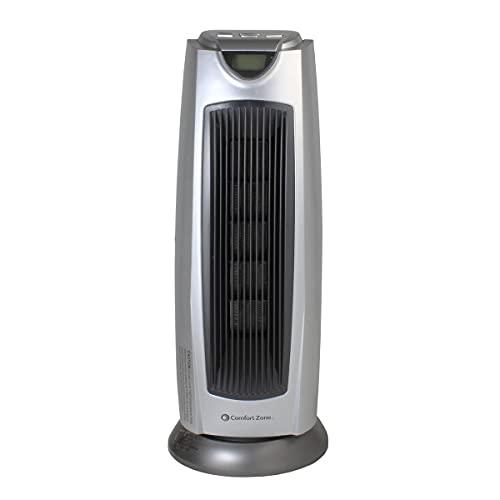 Comfort Zone CZ499R 1500 Watt Ceramic Oscillating Digital Tower Heater with Remote, Silver