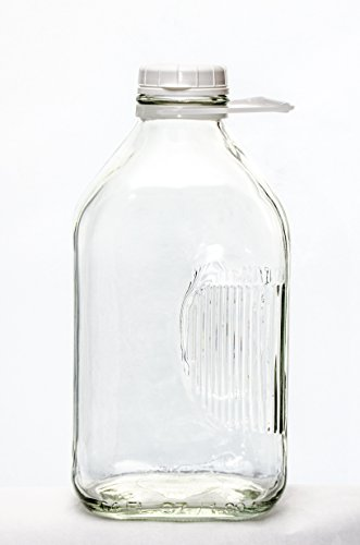 The Dairy Shoppe 2 Qt Heavy Glass Milk Bottle with Handle & Cap, 64 oz, 1/2 gallon ()