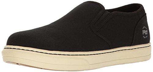 Timberland PRO Men's Disruptor Slip-on Alloy Safety Toe EH Industrial and Construction Shoe, Black/White Canvas, 10.5 W US Canvas Slip Shoes