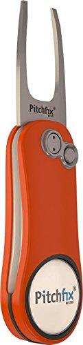 Pitchfix Divot Tool Golf (Orange/Silver) + BUILT IN PENCIL SHARPNER