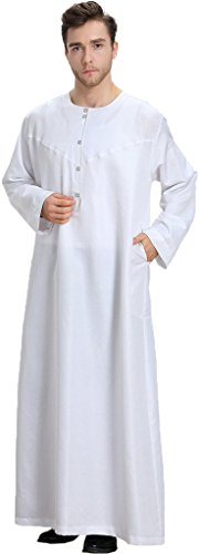 Ababalaya Men's Round Neck Long Sleeve Solid Saudi Arab Thobe Islamic Muslim Dubai Robe,White,XXXL