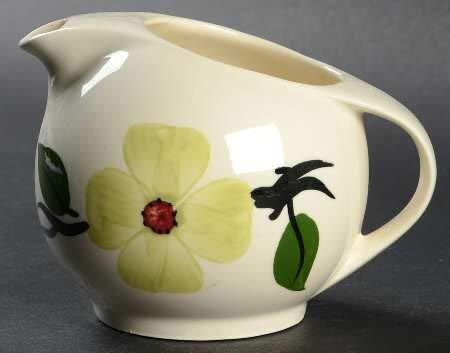 Blue Ridge Southern Potteries Handpainted Underglaze Chartreuse Dogwood Creamer