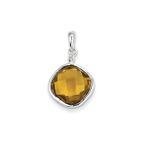 - Jewelry Stores Network Whiskey Quartz & Diamond Square Sterling Silver Pendant 13X13mm 6.6 Ct