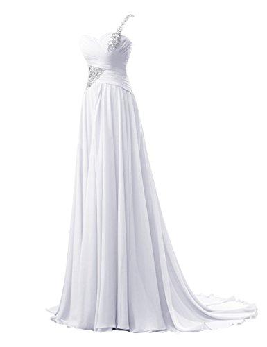Bbonlinedress Vestido Mujer De Fiesta Largo Un Solo Hombro Con Cola Escote Corazón Blanco