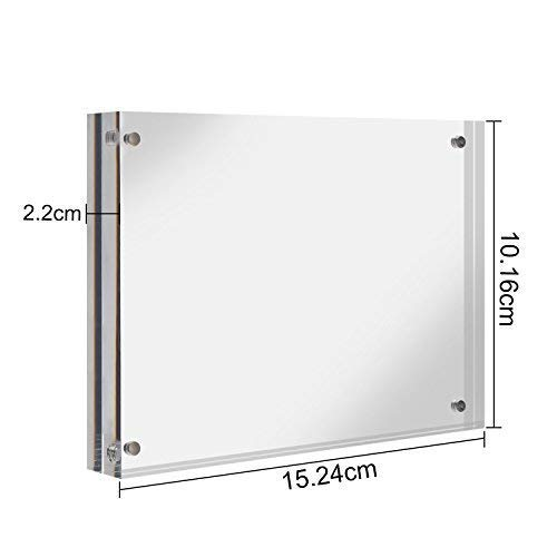 CRUODA Acrylic photo frame 4x6'', Magnetic Picture Frames, Double Sided Thick Frames, Family picture frames (4''x6'' 1pc)