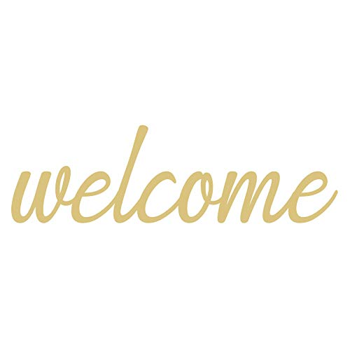 Word Welcome Cutout Unfinished Wood Welcome Sign Front Door Decor Everyday Door Hanger MDF Shape Canvas Style 4 (12