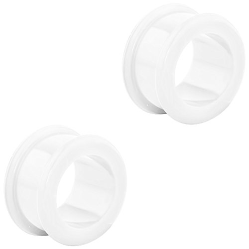 (Set of White 5/8 Inch Ultra Soft Comfort Fit Silicone Ear Gauges, 16mm Flat Double Flared Tunnel Plug Earrings)