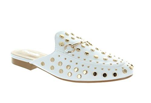 Urban Heels Womens KANDI-05 Slip-On Loafer Flat Sandal White gqAMPr8QZi