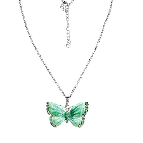 Butterfly Necklaces,Hemlock Women Girl's Crystal Butterfly Pendant Necklace Jewelry Choker Chain (Green)