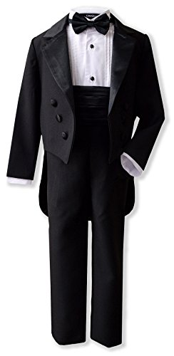 Boy's Formal Tuxedo Suit Set with Tail G208 (Black, 12)