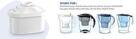 Elemaris Ayuda a Reducir la Cal y el Cloro UOON Cartuchos Filtrantes para el Agua Mavea 6 unidades Compatibles con BRITA Maxtra Jugs Marella