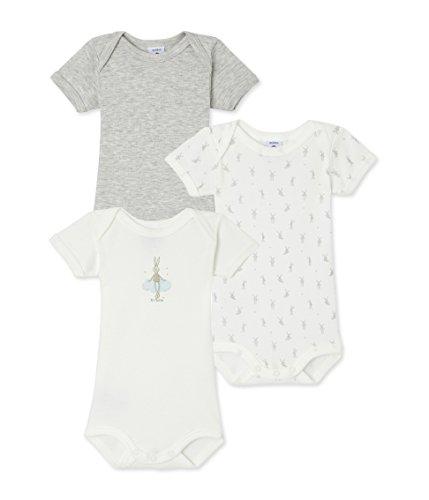Petit Bateau Unisex-baby Boy 3 Pack Short Sleeve Bunny Printed Solid Bodysuit, 3M (23 1/2 inches) Petite Stitch