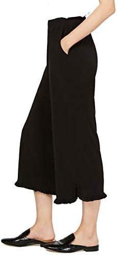 Michael Kors Ruffled Solid Color Pull On Full Length Pants (Black, X-Large)