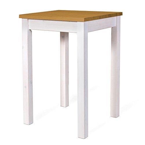 Mesa de pie mesa de 65 x 65 H-105 pino macizo madera lacado blanco ...